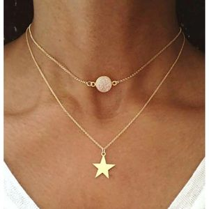 New! Women's Star Pendant Double Layered Necklace